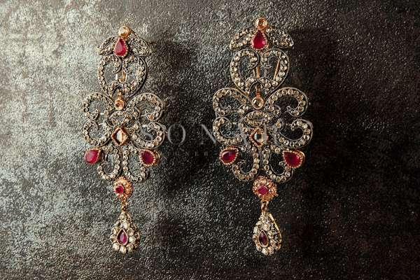 Antique Finish Polki Earrings