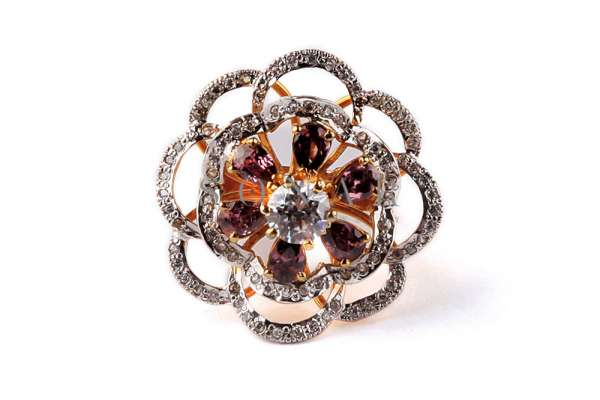 Champagne and Zircon Diamond Ring