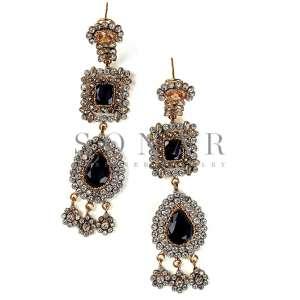 Blue Jade and Polki Earrings